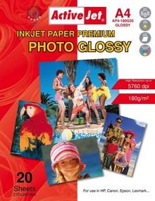 Fotopapír ActiveJet 180g/m2 A4/ 20 listů Premium Photo Glossy AP4-180G20