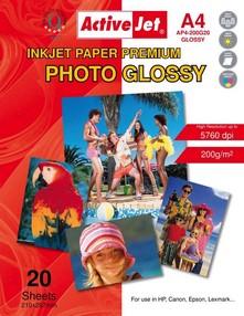 Fotopapír ActiveJet 200g/m2 A4/ 20 listů Premium Photo Glossy AP4-200G20