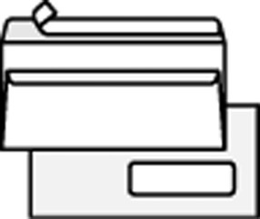 Obálka DL s oknem samolepící s krycí páskou (1000ks) bílá
