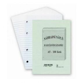 Vložka A5  linkovaná do kroužk.záznamníku KARIS, 100 listů