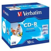 CD-R 700MB Verbatim DLP 52x Printable jewel box, ks