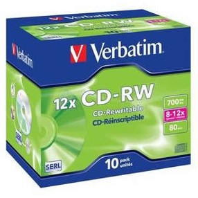 CD-RW 700MB Verbatim,  8-12x, jewel, bal.10 ks