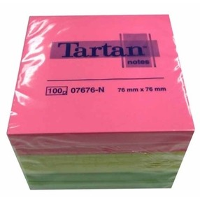 Bloček samolepící   76x 76mm, 6x100 rainbow NEON lístků, 3M-Tartan