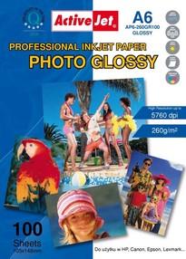 Fotopapír ActiveJet 260g/m2 A6/100 listů Professional Photo Glossy (10x15)cm AP6-260GR100