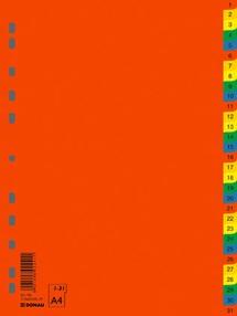 Roztřiďovač PP A4  barevný 1-31 čísl.