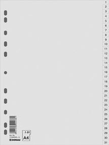Roztřiďovač PP A4  šedý 1-31 čísl.