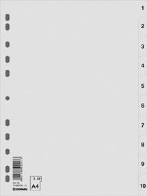 Roztřiďovač PP A4  šedý 1-10 čísl.