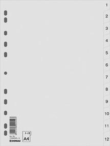 Roztřiďovač PP A4  šedý 1-12 čísl.