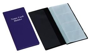 Vizitkář čtyřřadý kůže lesk, modrý, 80 vizitek