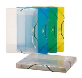 Krabice na spisy 3 klopá PP průhledná modrá