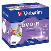 DVD+R 4,7GB Verbatim DLP 16x Printable jewel, ks