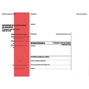 DORUČENKA červený pruh, B6 (125x176mm)  samopr.odtrh.okno, samolepící, POUČENÍ,1147944