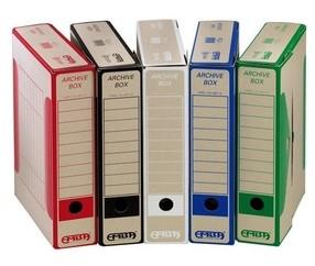 Krabice archivní EMBA A4  75mm červená