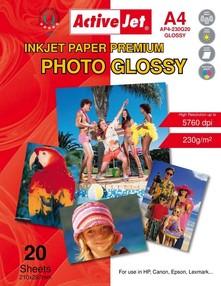 Fotopapír ActiveJet 230g/m2 A4/ 20 listů Premium Photo Glossy AP4-230G20