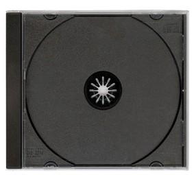 Krabička na 1CD, slim, průhl., černý tray