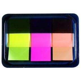 Záložka samolepící plast 20x45mm, 3x20 bar.lístků NEON DELI 9061 v zásobníku