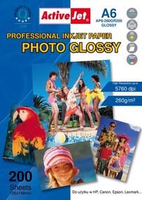 Fotopapír ActiveJet 260g/m2 A6/200 listů Professional Photo Glossy (10x15)cm AP6-260GR200