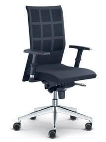 Židle kanc. LD WEB 405-TI černá kůže P100,  hliníkový kříž černý, područky BR 470-N1