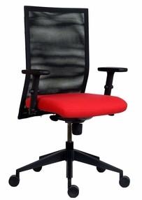 Židle kanc. 1700 SYN RENÉ NET SL barva  červená B300, včetně područek AR-08
