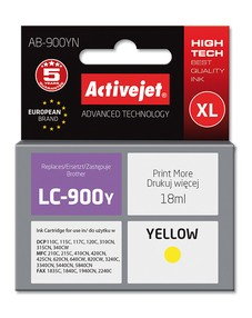Cartridge Brother LC-900Y žlutá (17,5 ml) ActiveJet AB-900YN