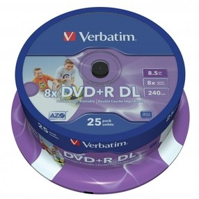 DVD+R 8,5GB Verbatim Double Layer 8x, Printable, spindl 25, cena za bal.
