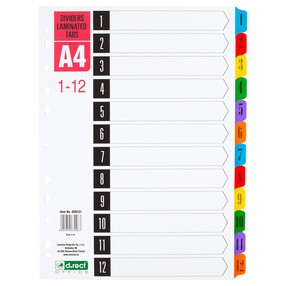 Roztřiďovač karton A4 bar. 1-12 čísl.