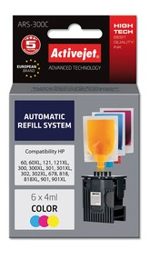 Refill aplikátor ActiveJet HP 300/301/901 Color 6x4ml ARS-300C