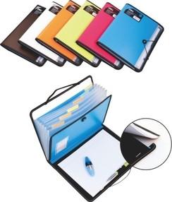 Aktovka na spisy A4, 7 přihrádek, PP, W38965, modrá