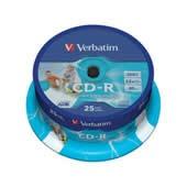 CD-R 700MB Verbatim DLP 52x Printable spindl 25 ks, cena za bal