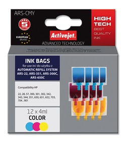 Refill inkoust univerzální 12x4 ml. Color ActiveJet ARS-CMY