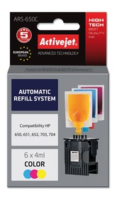 Refill aplikátor ActiveJet HP 703/704/650 Color 6x4ml ARS-650C