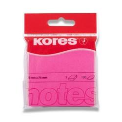 Bloček samolepící Kores 76 x 76mm 100 lístků, neon růžový