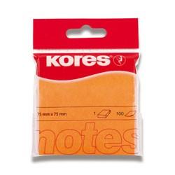 Bloček samolepící Kores 76 x 76mm 100 lístků, neon oranžový