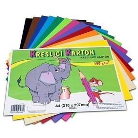 Kreslící karton A4, 50 listů - mix barev