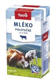 Mléko polotučné 1,5% tuku, 1 litr (12ks)