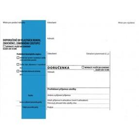 DORUČENKA modrý pruh, B6 (125x176mm)  samopr.odtrh.okno, samolepící, POUČENÍ,1147936