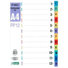 Roztřiďovač PP A4 bar. 1-12 čísl.