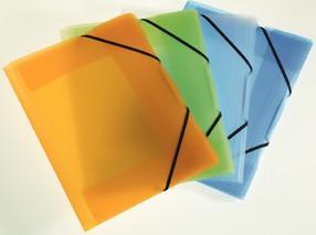 Složka tříklopá opaline s gumou žlutá