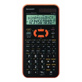 Kalkulačka vědecká Sharp EL-506XYR, neprogramovatelná, černo-oranžová
