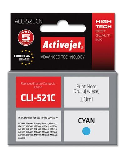 Cartridge Canon CLI-521C modrá (10ml) CHIP ActiveJet ACC-521CN