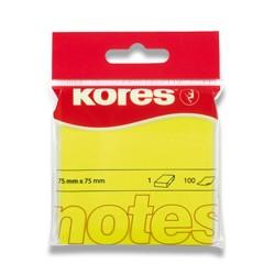 Bloček samolepící Kores 76 x 76mm 100 lístků, neon žlutý